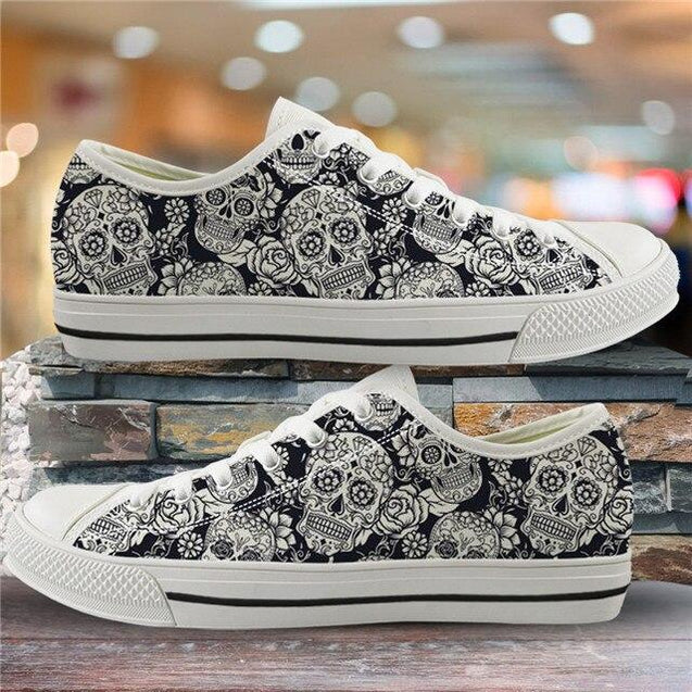 Sugar Skull Pattern Women's Summer Casual Canvas Shoes Ladies HMF310Z39A