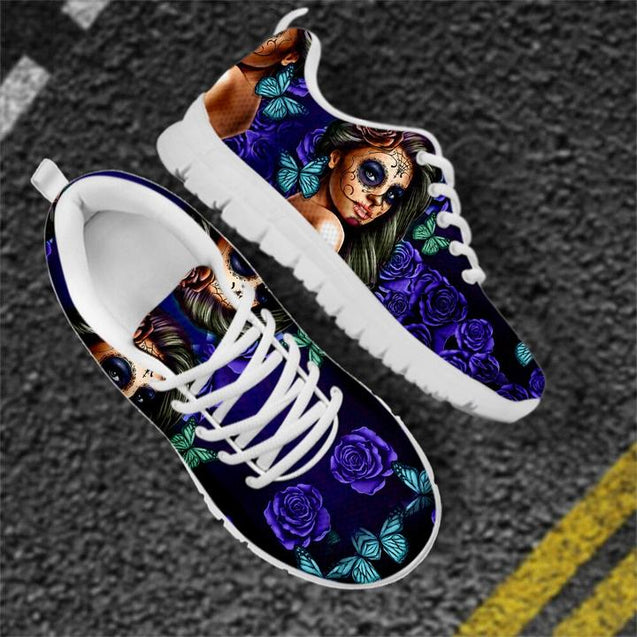 Breathable Shoes Women Flat Sneakers Day of the Dead Print Casual Lace-up HTB550AQ