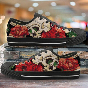 Sugar Skull Pattern Women's Summer Casual Canvas Shoes Ladies HMF305Z37A