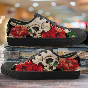 Sugar Skull Pattern Women's Summer Casual Canvas Shoes Ladies HMF305Z37