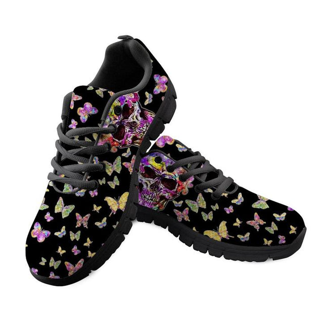 Skull Sneakers Black 3D Butterfly Pattern Casual Women Sneakers Flats Ladies Shoes CC3532BAQ
