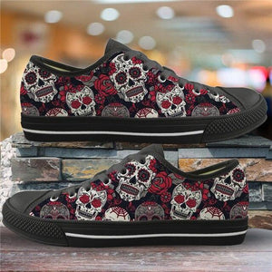 Sugar Skull Pattern Women's Summer Casual Canvas Shoes Ladies HMF309Z37A