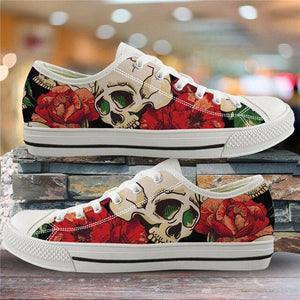 Sugar Skull Pattern Women's Summer Casual Canvas Shoes Ladies HMF305Z39A