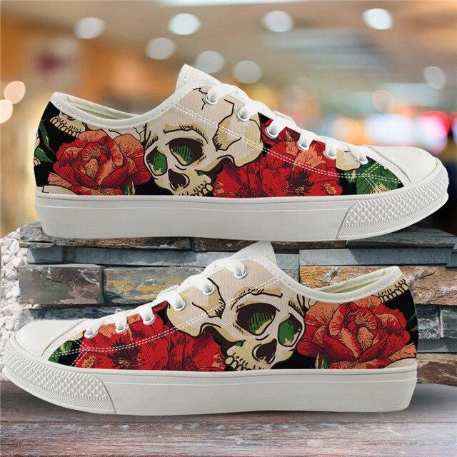 Sugar Skull Pattern Women's Summer Casual Canvas Shoes Ladies HMF305Z39