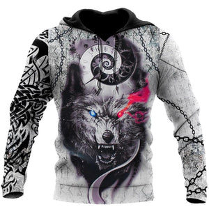 Gray Wolf Tattoo 3D Over Printed Hoodie for Men and Women-ML