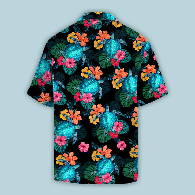TURTLES HIBISCUS TROPICAL HAWAII SHIRTS S006N9TTD