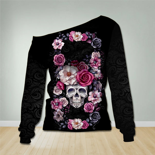 SKULL OFF-SHOULDER SWEATSHIRT OS003UX