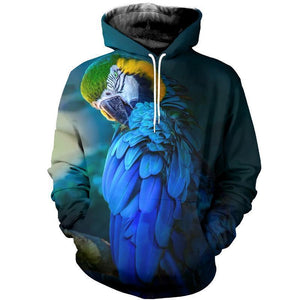 3D Printed Blue Parrot Hoodie T-shirt 312651