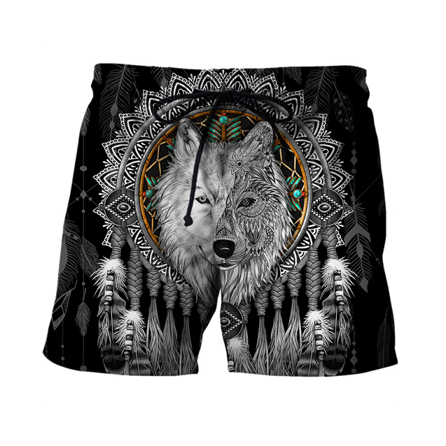 Mandala Dreamcatcher Native Wolf 3D All Over Printed Hoodie Shirt For Men and Women TR0809203
