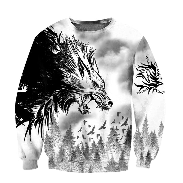 Black Wolf & Raven 3D Over Printed Hoodie for Men and Women-ML