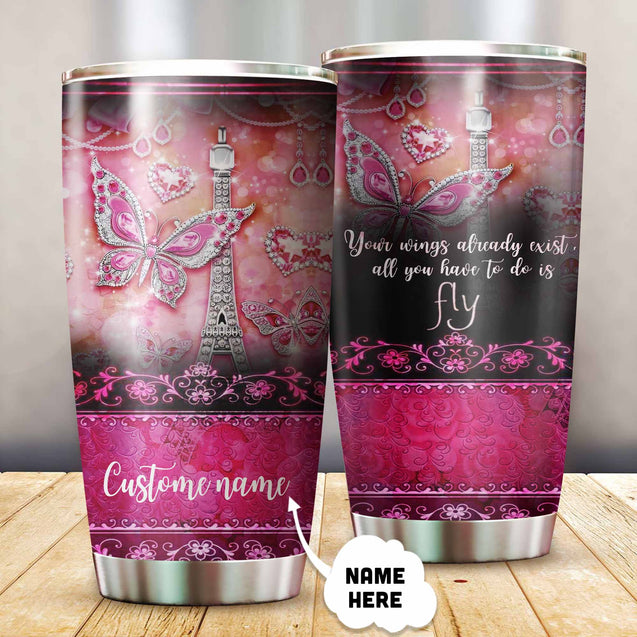 BUTTERFLY TUMBLER T0054Q2 CUSTOM NAME