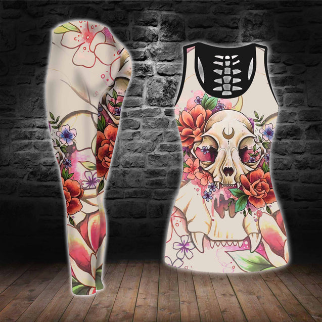 COMBO SKULL TANK TOP & LEGGINGS OUTFIT FOR WOMEN TA0033H