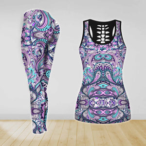 COMBO HIPPIE FLOWER YOGA TANK TOP & LEGGINGS OUTFIT FOR WOMEN TA00352