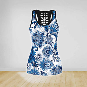 COMBO FLOWER YOGA TANK TOP & LEGGINGS OUTFIT FOR WOMEN TA00353