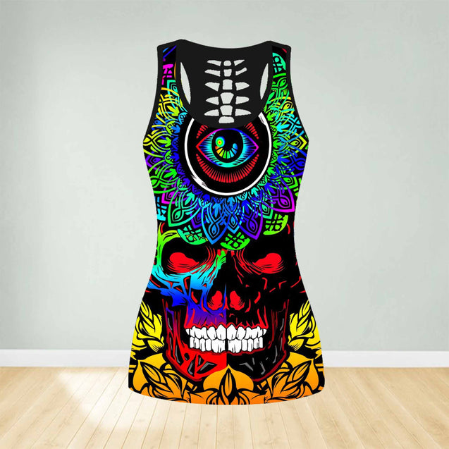 COMBO TANK TOP & LEGGINGS OUTFIT FOR WOMEN SKULL TATOO TS003SD