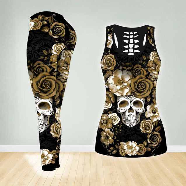 COMBO SKULL TANK TOP & LEGGINGS OUTFIT FOR WOMEN TA003TV