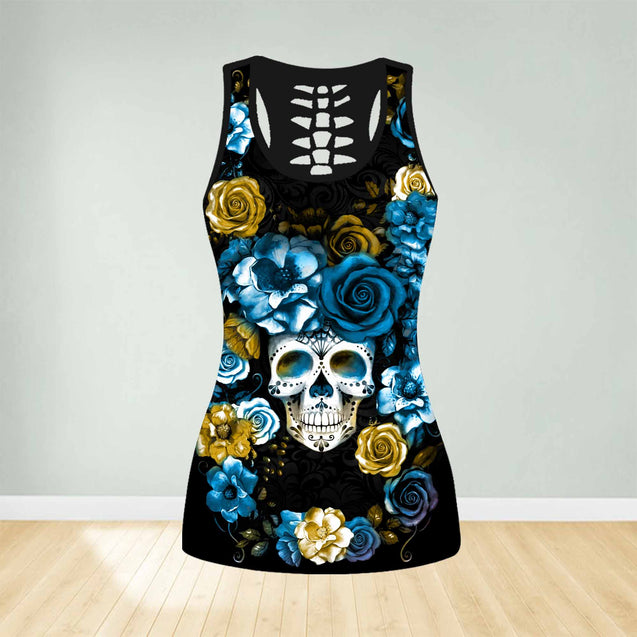 COMBO SKULL ROSE TANK TOP & LEGGINGS OUTFIT FOR WOMEN TA003U9