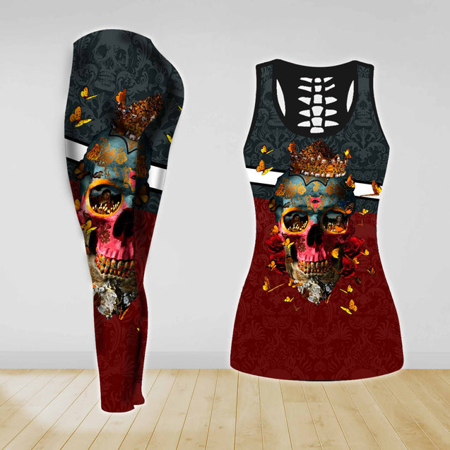 COMBO SKULL TANK TOP & LEGGINGS OUTFIT FOR WOMEN TA003XW