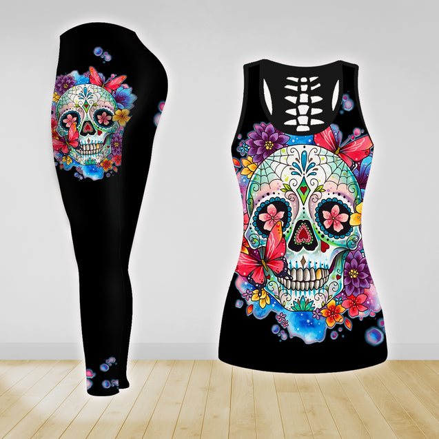 COMBO SKULL TANK TOP & LEGGINGS OUTFIT FOR WOMEN TA003Y4