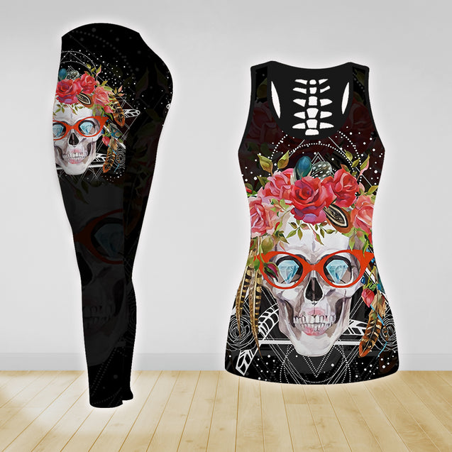 COMBO SKULL TANK TOP & LEGGINGS OUTFIT FOR WOMEN TA003YM