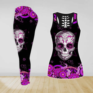 COMBO SKULL TANK TOP & LEGGINGS OUTFIT FOR WOMEN TATTOO TA003YQ