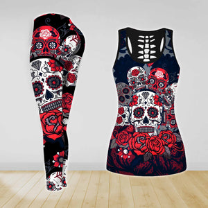 COMBO SKULL TANK TOP & LEGGINGS OUTFIT FOR WOMEN TATTOO TA003ZH