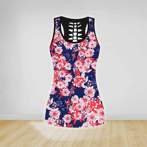 COMBO FLOWERS TANK TOP & LEGGINGS OUTFIT FOR WOMEN TA00406