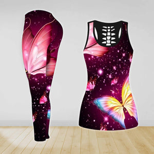 COMBO BUTTERFLY TANK TOP & LEGGINGS OUTFIT FOR WOMEN TA004EF
