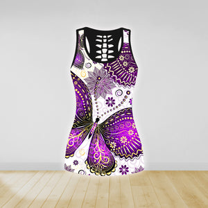 COMBO BUTTERFLY TANK TOP & LEGGINGS OUTFIT FOR WOMEN TA004EL