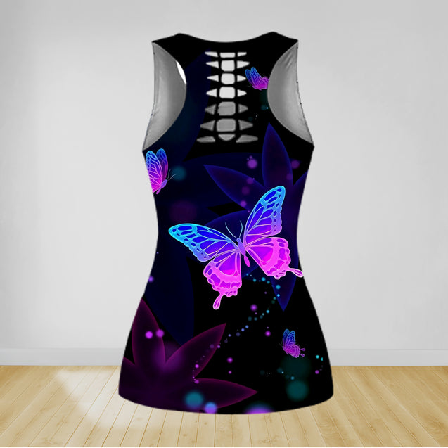 COMBO BUTTERFLY TANK TOP & LEGGINGS OUTFIT FOR WOMEN TA004EY
