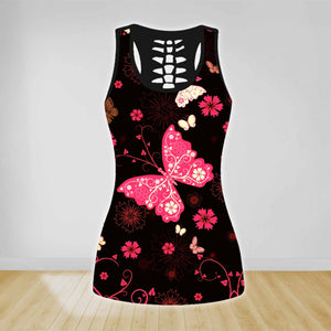 COMBO PINK BUTTERFLY TANK TOP & LEGGINGS OUTFIT FOR WOMEN TA004FB