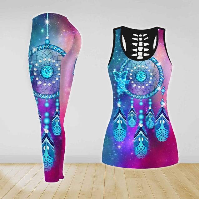 COMBO BLUE DREAMCATCHER TANK TOP & LEGGINGS OUTFIT FOR WOMEN TA004FQ