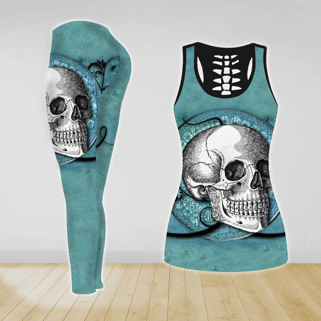 COMBO SKULL TANK TOP & LEGGINGS OUTFIT FOR WOMEN TATTOO TA003Y7