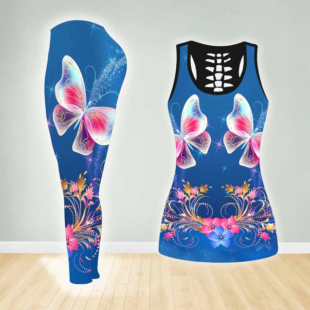 BUTTERFLY COMBO TANK TOP & LEGGINGS OUTFIT FOR WOMEN TA0052X