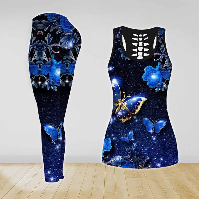 COMBO GALAXY BUTTERFLY TANKTOP TANK TOP & LEGGINGS OUTFIT FOR WOMEN TA00563