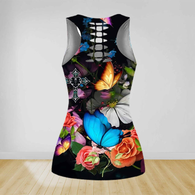 COMBO BUTTERFLY TANK TOP & LEGGINGS OUTFIT FOR WOMEN TA005AFNUH