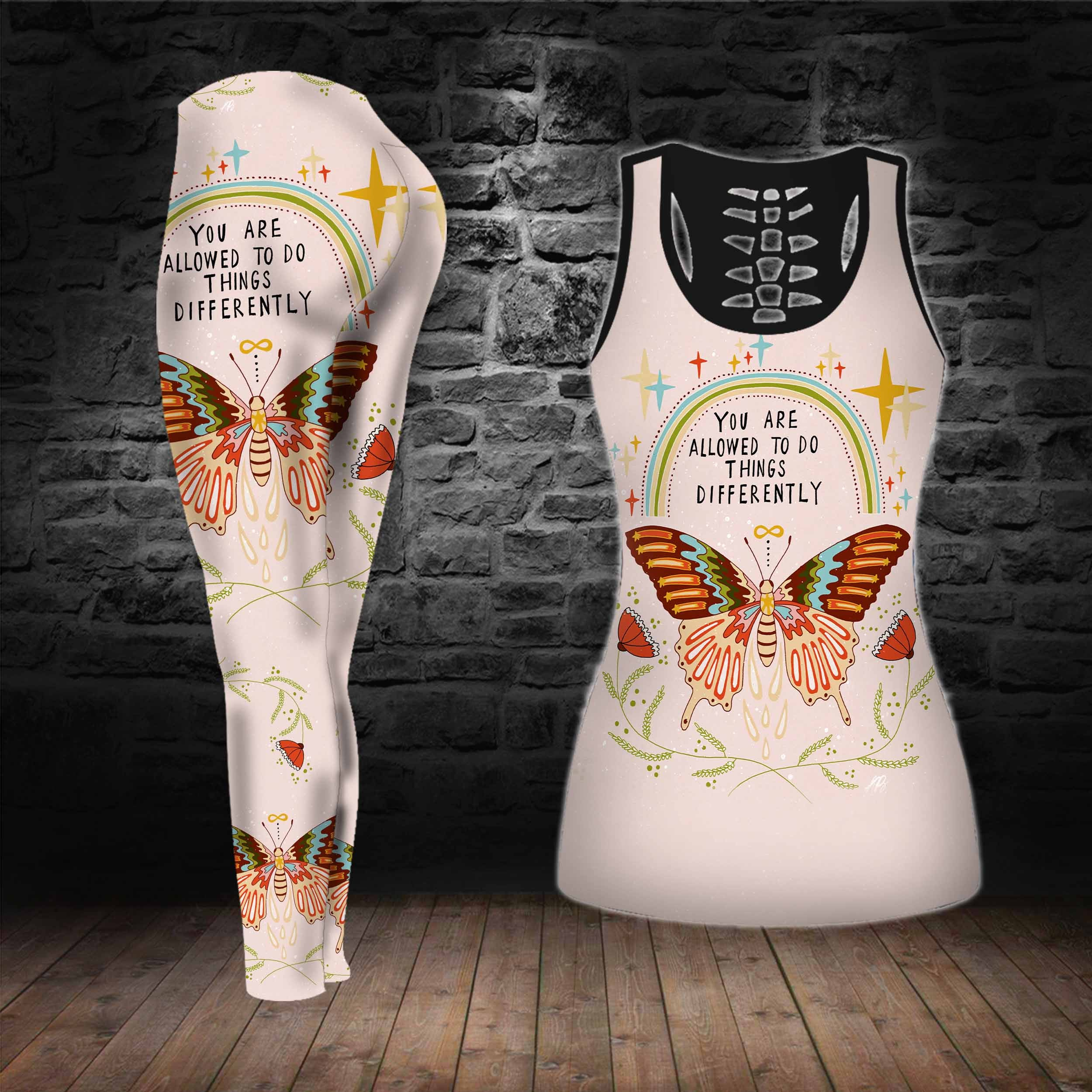 COMBO BUTTERFLY TANKTOP & LEGGINGS OUTFIT FOR WOMEN TA005FMNUH