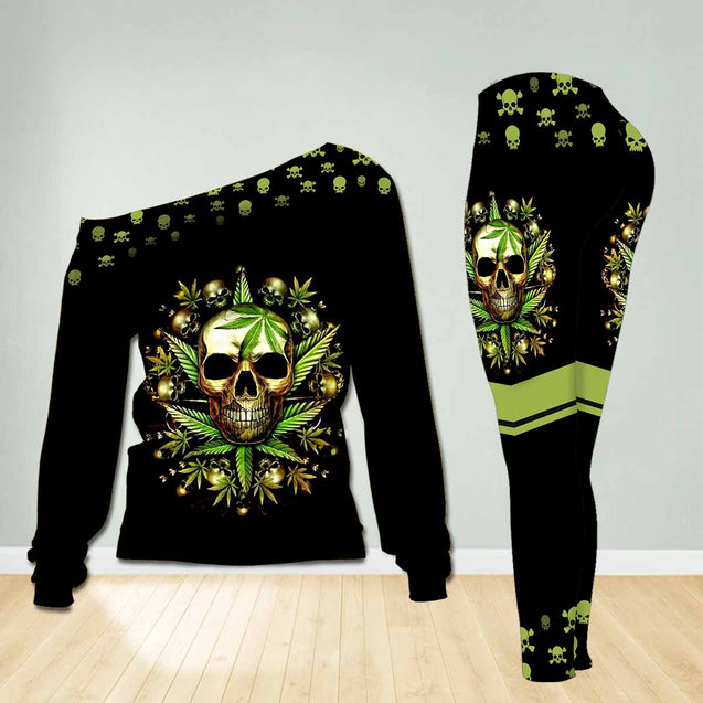 SKULL shoulder long sleeves top and legging set TA007BISON