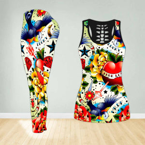 COMBO TANK TOP & LEGGINGS OUTFIT FOR WOMEN TATTOO TA04K1