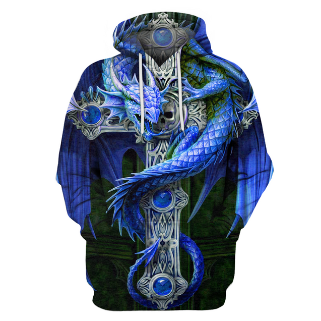 3D All Over Print Blue Dragon Hoodie