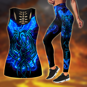 COMBO ROYAL BLUE PHOENIX TATTOO TANKTOP TANK TOP & LEGGINGS OUTFIT FOR WOMEN TA064TIEH