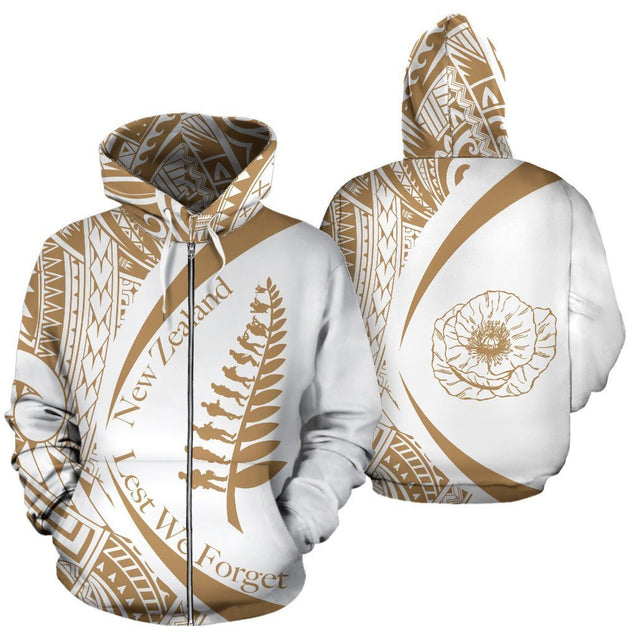 New Zealand Lest We Forget Maori Hoodie Circle Style - Golden J95