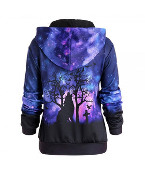 HALLOWEEN GALAXY AND WOLF PRINT DRAWSTRING HOODIE H007ANSON