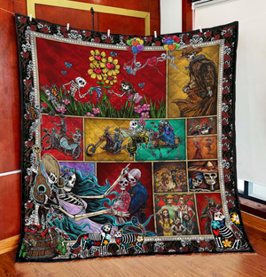 LOVE STORIES SKULL COUPLE QUILT Q0070TSON