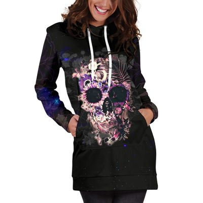 HOODIE DRESS SKULL FLOWER H0073USON