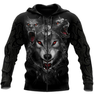 Black Wolf Nightmare 3D Over Printed Hoodie for Men and Women-ML