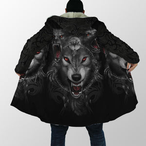 Black Wolf Nightmare 3D Over Printed Cloak for Men and Women-ML
