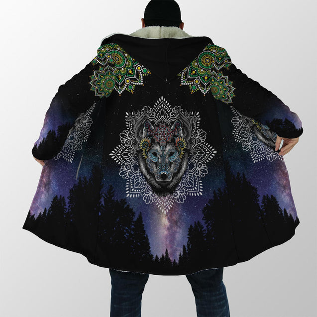 Lobo Wolf Mandala 3D Over Printed Cloak for Men and Women-ML