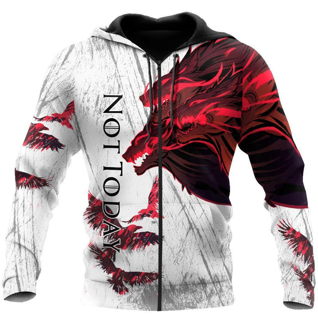 Blood Wolf Not Today & Raven 3D Over Printed Hoodie for Men and Women-ML