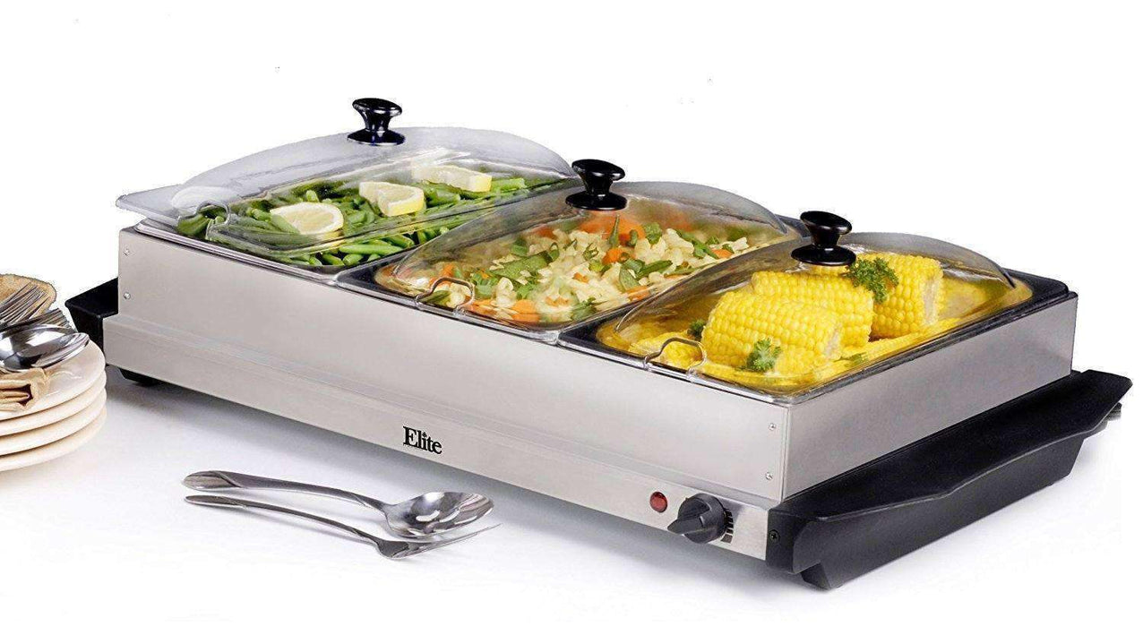 3 Pan Buffet Warming Tray - Mahhalcom.com